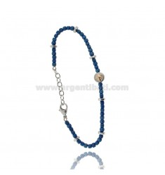 BRACELET WITH ROSE OF THE WINDS IN STEEL AND BLUE STONES CM 21