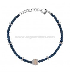 BRACELET WITH STAINLESS STEEL AND BLUE STONES CM 21