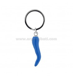 KEY RING WITH STEEL HORN AND ENAMEL