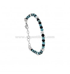 BRACELET WITH SPHERES MADE OF HARD STONE 4 MM AND 21 CM STEEL