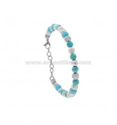 BRACELET WITH SPHERES MADE OF HARD STONE 6 MM AND 21 CM STEEL