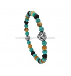 ELASTIC BRACELET WITH STONE HARD BALLS 6 MM AND HEAD OF STEEL LION