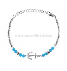 BRACELET IN STEEL WITH STILL AND TURQUOISE CM 21