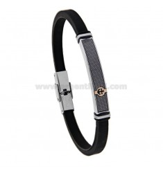 RUBBER BRACELET WITH PLATE AND STILL IN TWO-COLORED STEEL AND POLISH 21 CM