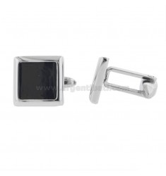 15X15 MM SQUARE STEEL CUFFLINKS WITH ONYX