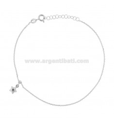 ANKLE CABLE WITH STAR PENDANT IN RHODIUM SILVER TIT 925 ‰ CM 22 EXTENSIBLE TO 25
