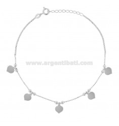 ANKLE BRACELET faceted with HEARTS PENDING IN SILVER RHODIUM TIT 925 ‰ CM 22 EXTENSIBLE TO 25