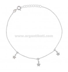 ANKLE BRACELET faceted with STARS PENDING SILVER RHODIUM TIT 925 ‰ CM 22 EXTENSIBLE TO 25
