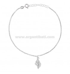 ROLO 'NECKLACE WITH SHELL PENDANT IN RHODIUM SILVER TIT 925 ‰ 22 CM EXTENSIBLE TO 25