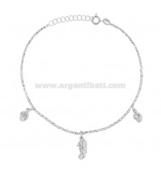 ROLO 'CUPLET WITH HANGER AND PENDANT SHELLS IN RHODIUM SILVER TIT 925 22 22 CM EXTENSIBLE TO 25