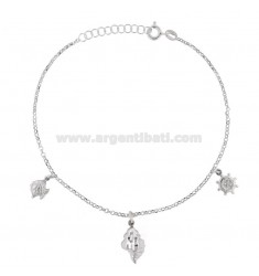 ROLO 'CUPLET WITH SHELL AND PENDANT RUDDERS IN SILVER RHODIUM TIT 925 22 22 CM EXTENSIBLE TO 25
