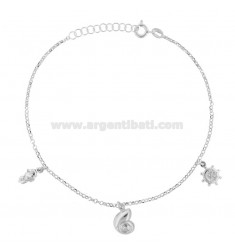 ROLO 'CUPLET WITH PENDANT SHELLS IN RHODIUM SILVER TIT 925 22 22 CM EXTENDABLE TO 25