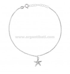 ROLO 'ANKLE' WITH MARINE STAR PENDANT IN SILVER RHODIUM TIT 925 22 22 CM EXTENSIBLE TO 25