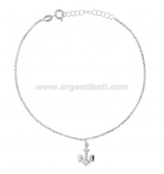 ROLO 'ANKLE WITH STILL RHODIUM SILVER PENDANT TIT 925 22 22 CM EXTENDABLE TO 25