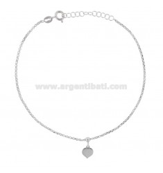 ROLO 'CUPLET WITH HEART PENDANT IN RHODIUM SILVER TIT 925 ‰ 22 CM EXTENSIBLE TO 25