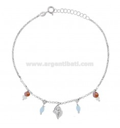ROLO 'CUPLET WITH SHELL AND PENDANT STONES IN RHODIUM SILVER TIT 925 22 22 CM EXTENSIBLE TO 25