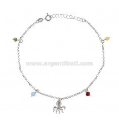 ANKLE CABLE WITH POLYETRIC AND STONES IN SILVER RHODIUM TIT 925 ‰ CM 22 EXTENSIBLE TO 25