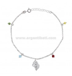 ANKLE CABLE WITH SHELL AND STONES IN SILVER RHODIUM TIT 925 ‰ CM 22 EXTENSIBLE TO 25