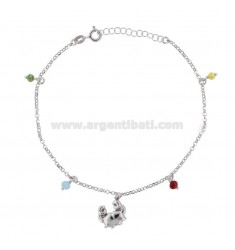 ANKLE CABLE WITH CRAB AND STONES IN SILVER RHODIUM TIT 925 ‰ CM 22 EXTENSIBLE TO 25