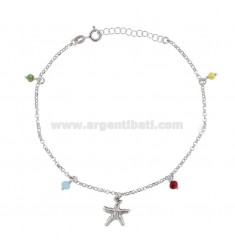 CABLE ANKLE WITH STELLA MARINA AND PENDING STONES IN SILVER RHODIUM TIT 925 ‰ CM 22 EXTENSIBLE TO 25