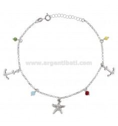 ROLO 'CAVILLO' WITH STARFISH, ANCHOR AND PENDING STONES IN SILVER RHODIUM TIT 925 22 CM 22 EXTENSIBLE TO 25