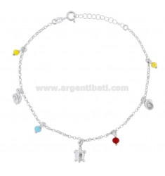 ROLO 'CUPLET WITH TARTARUGA, SHELLS AND STONES IN SILVER RHODIUM TIT 925 ‰ CM 22 EXTENSIBLE TO 25