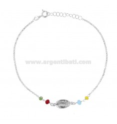 ROLO 'ANKLE' WITH SHELL AND STONES IN RHODIUM SILVER TIT 925 ‰ 22 CM EXTENDABLE TO 25