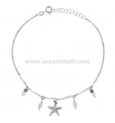 ROLO 'CAVILLO' WITH MARINE STAR AND PENDING STONES IN RHODIUM SILVER TIT 925 22 22 CM EXTENSIBLE TO 25