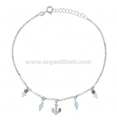 ROLO 'ANKLE WITH STILL AND PENDING STONES IN SILVER RHODIUM TIT 925 22 CM 22 EXTENSIBLE TO 25