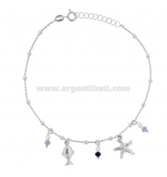 CABLE ANKLE WITH STRELLA MARINA, FISH AND STONES IN SILVER RHODIUM TIT 925 ‰ CM 22 EXTENSIBLE TO 25