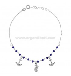 ANKLE WITH STONES, CAMERA AND ANCHOR PENDING IN SILVER RHODIUM TIT 925 ‰ CM 22 EXTENSIBLE TO 25