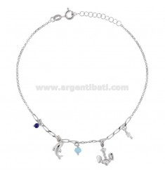 ROLO 'ANKLE WITH STILL, DOLPHIN AND PENDING STONES IN RHODIUM SILVER TIT 925 22 CM 22 EXTENSIBLE TO 25
