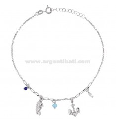 ROLO 'CUPLET WITH STILL, HIDDEN AND PENDING STONES IN RHODIUM SILVER TIT 925 22 CM 22 EXTENSIBLE TO 25