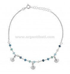 ANKLE WITH STONES AND SHELLS IN SILVER RHODIUM TIT 925 ‰ CM 22 EXTENSIBLE TO 25
