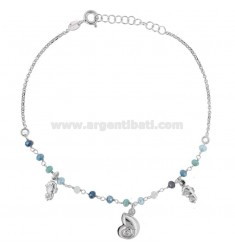 ANKLE WITH STONES, SHELL AND PENDANT HANGING IN SILVER RHODIUM TIT 925 ‰ CM 22 EXTENSIBLE TO 25