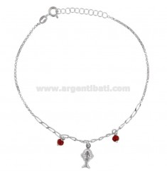 ROLO 'ANKLE WITH FISH AND STONES IN SILVER RHODIUM TIT 925 22 CM 22 EXTENSIBLE TO 25