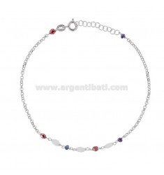 ROLO 'ANKLE WITH STONES IN RHODIUM SILVER TIT 925 22 CM 22 EXTENSIBLE TO 25