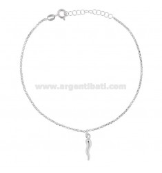 ROLO 'ANKLE WITH HORN PENDANT IN RHODIUM SILVER TIT 925 ‰ 22 CM EXTENSIBLE TO 25