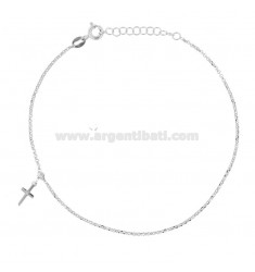 ROLO 'ANKLE WITH CROSS PENDANT RHODIUM SILVER TIT 925 ‰ 22 CM EXTENSIBLE TO 25