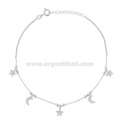 ANKLE BRACELET faceted with MOON and STAR PENDANTS IN RHODIUM SILVER TIT 925 22 CM 22 EXTENSIBLE TO 25