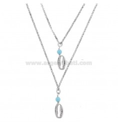 ROLO NECKLACE '2 WIRES WITH SHELLS AND PASTA OF TURQUOISE SILVER RHODIUM TIT 925 ‰ CM 40-45