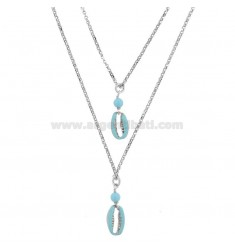 ROLO NECKLACE 2 WIRES WITH SHELLS AND TURQUOISE PASTA IN SILVER RHODIUM TIT 925 ‰ AND ENAMEL 40-45 CM