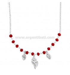 ROLO NECKLACE 'WITH SHELLS AND STONES IN SILVER RHODIUM TIT 925 ‰ CM 40-45