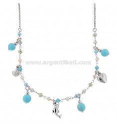 ROLO NECKLACE 'WITH MARINE SUBJECTS AND TURQUOISE PASTA IN RHODIUM SILVER TIT 925 ‰ CM 40-45