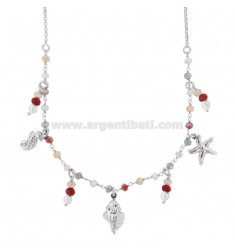 NECKLACE WITH STONES AND PENDANT MARINE SUBJECTS IN SILVER RHODIUM TIT 925 ‰ CM 40-42