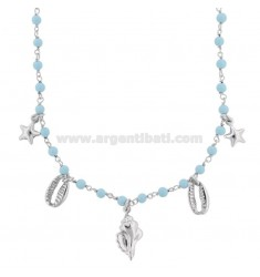ROLO NECKLACE 'WITH SHELLS, STARS AND PASTA OF TURQUOISE SILVER RHODIUM TIT 925 ‰ CM 40-45