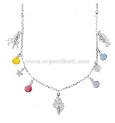 ROLO NECKLACE 'WITH MARINE SUBJECTS AND STONES IN RHODIUM SILVER TIT 925 ‰ CM 40-45