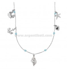 ROLO NECKLACE 'WITH SHELL AND PASTA OF TURQUOISE SILVER RHODIUM TIT 925 ‰ CM 40-42