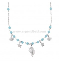 ROLO NECKLACE 'WITH SHELLS AND PASTA OF TURQUOISE SILVER RHODIUM TIT 925 ‰ CM 40-42