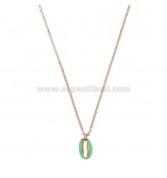 ROLO NECKLACE WITH SHELL IN SILVER ROSE TIT 925 ‰ AND ENAMEL CM 40-42